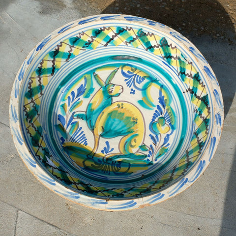 "Antique large painted blue & white ""Manises"" majolica bowl"