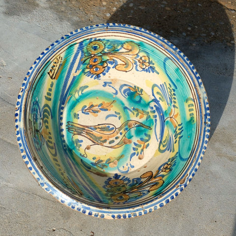 "Antique painted Andalusian washbasin (""Songbird"")"