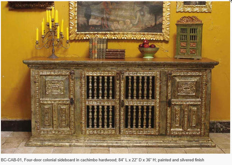 Carved four-door reproduction Spanish colonial sideboard / credenza, cachimbo hardwood