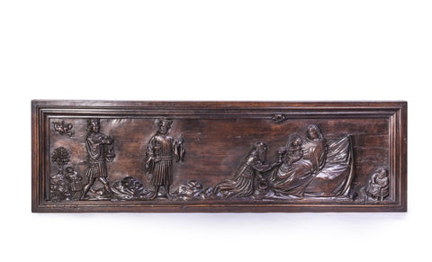 Antique carved altar front panel, walnut