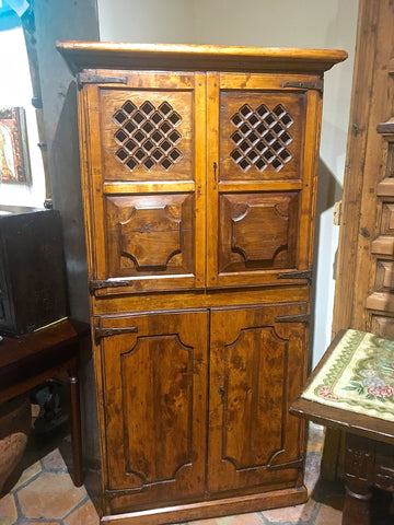 Two-door, single-drawer antique pantry cabinet, pine
