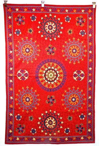 """RED SUZZANI"" chain stitch rug / tapestry hanging (4' x 6')"