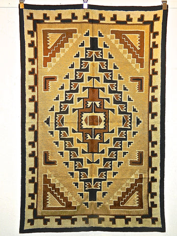 """TWO GREY HILLS"" chain stitch rug / tapestry hanging (4' x 6')"