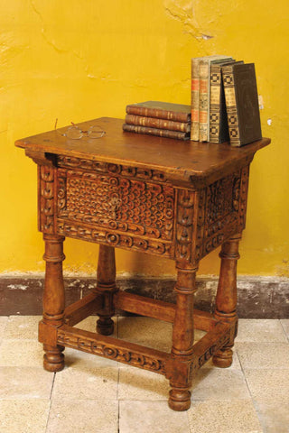 "Carved three-drawer reproduction ""Cusco"" console table, cachimbo hardwood"
