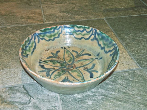 "Antique glazed ""Fajalauza"" majolica basin"