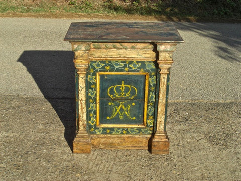 Antique painted pine sacristy pedestal table