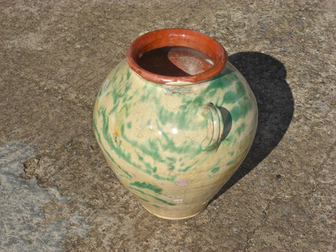 Antique painted and glazed terracotta water jar
