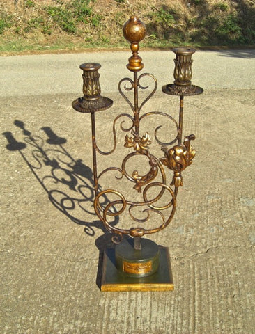 Antique tripod floor candlestick with gilt metal bobeche