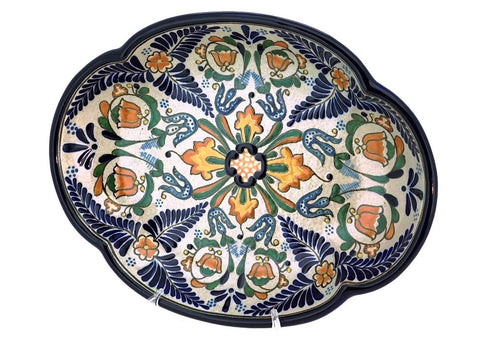 "Large Oval Talavera Serving Platter - ""HELECHO"""