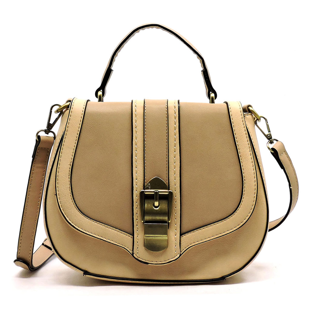 Two Toned Saddle Satchel Crossbody Bag