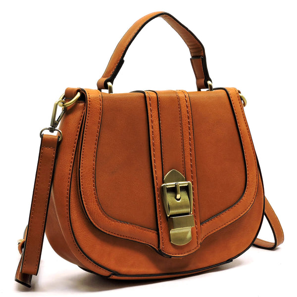 Saddle Satchel Crossbody Purse - 2 Toned
