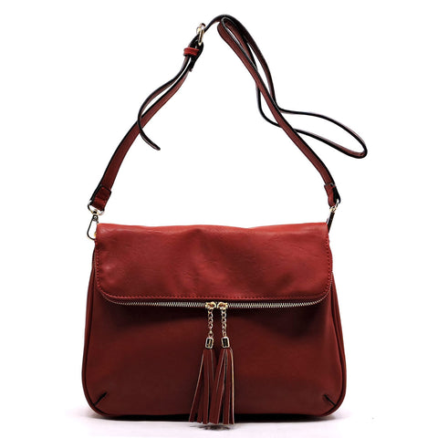 Tassel Zip Bifold Crossbody Bag