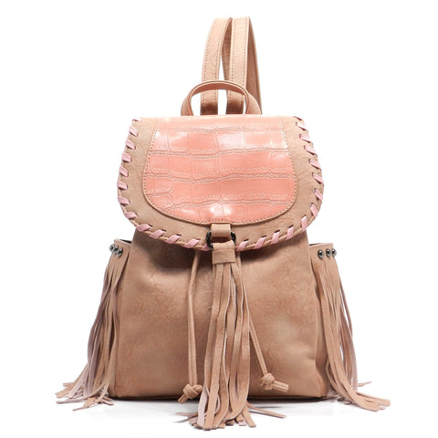 Fashion Fringe Backpack Pink