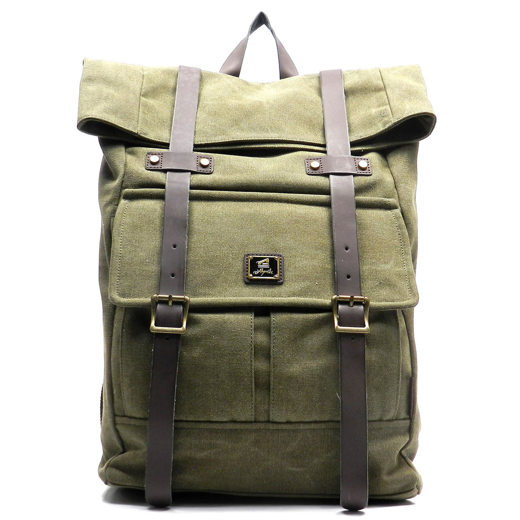 Military Canvas Hiking Backpack Green