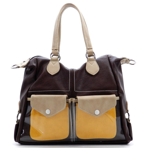 Fashion Colorblock Satchel Tote Bag Dark Brown