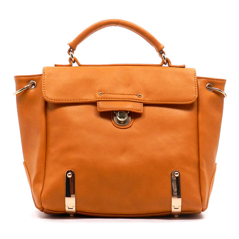 Flap Over Push Lock Satchel