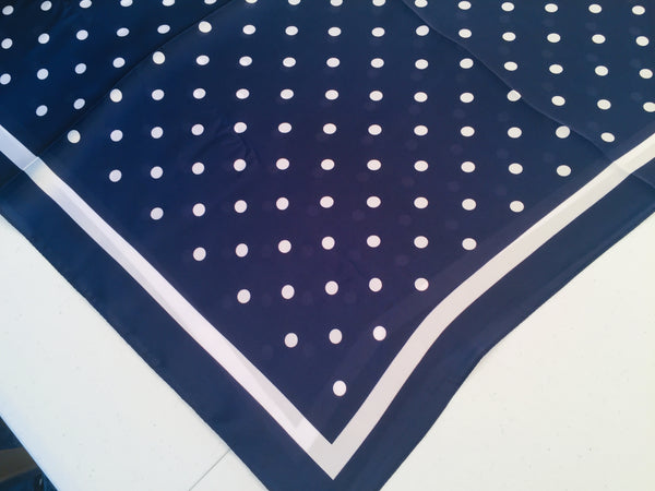 100% Silk Polyester Scarf Dots Navy Blue White