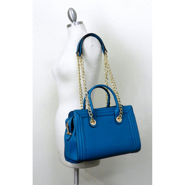 Textured Chain Strap Tote Satchel