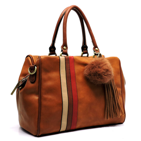 Colorblock Stripe Pom Tassel Boston Satchel