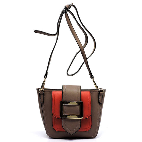 Buckle Flap Colorblock Crossbody Satchel