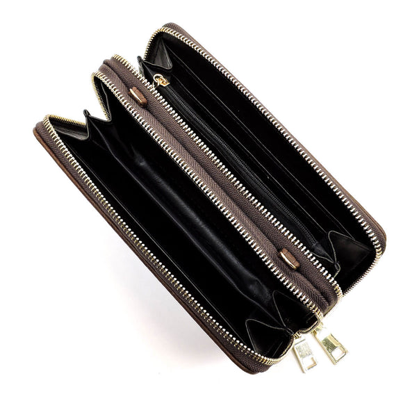 Double Zip Around Wallet with Strap