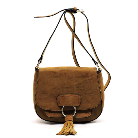 Tassel Flap Saddle Crossbody Bag
