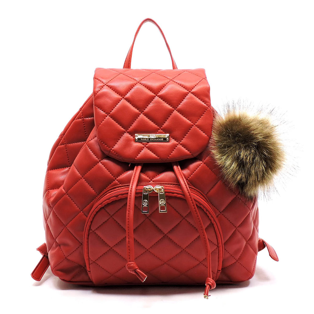 Stylish NX Noble Exchange Quilted Backpack Red