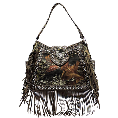 Mossy Oak Camouflage Stone Flower Fringe Shoulder Bag