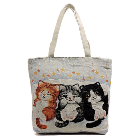Printed Canvas Tote Cat