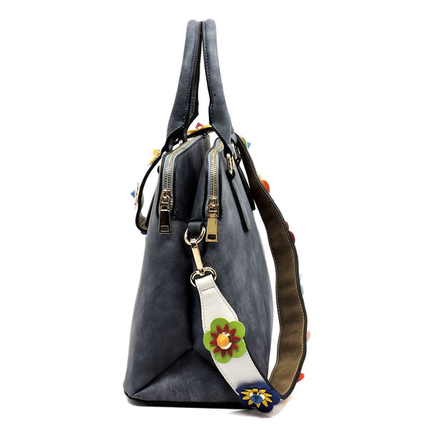 Fashion Satchel with Flower Strap