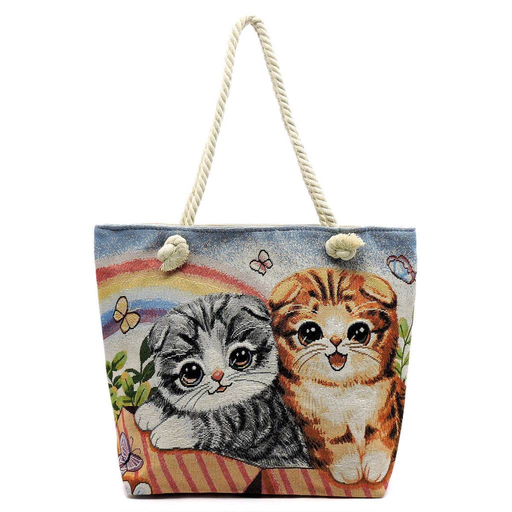 Printed Canvas Beach Tote Cat