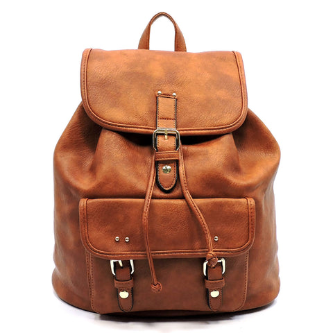 Vegan Leather Buckle Flap Backpack