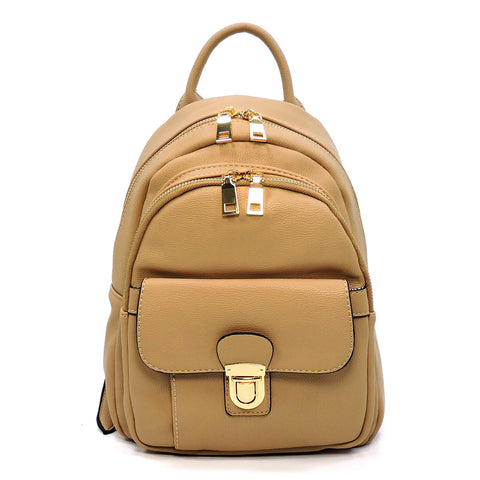 Fashion Push Lock Pocket Backpack