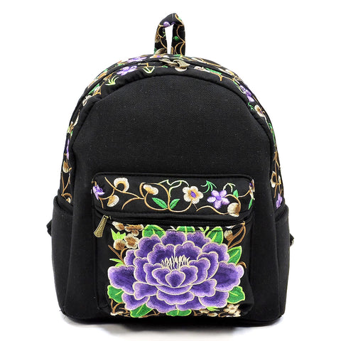 Embroidered Flower Canvas Backpack