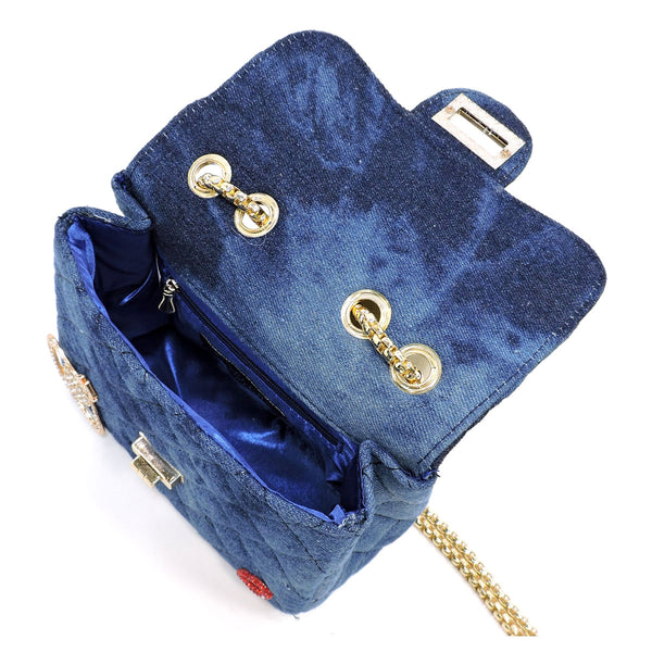 Quilted Denim Embellished Cute Mini Satchel