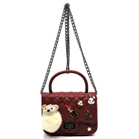 Quilted Embellished Cute Mini Satchel