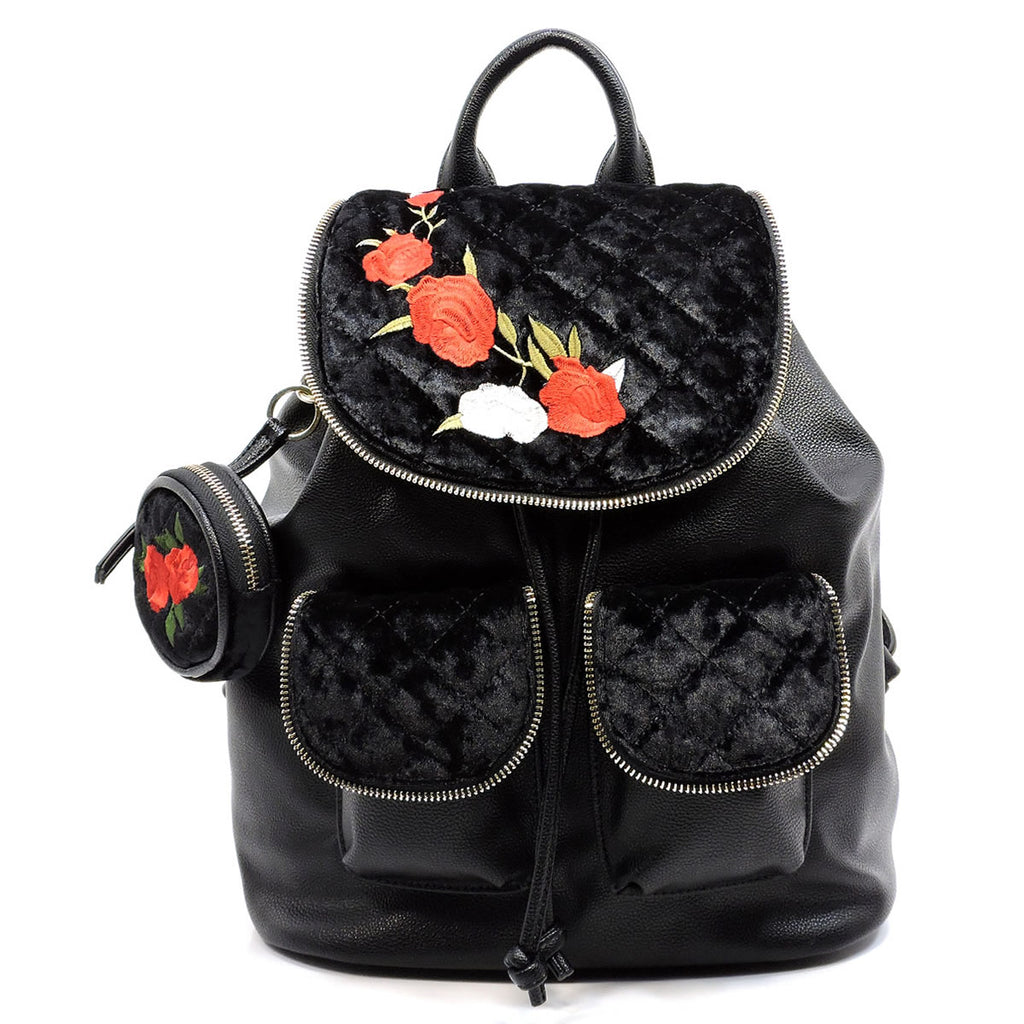 Embroidered Flower Velvet Backpack