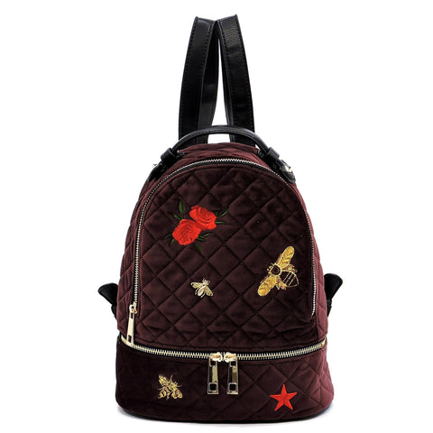 Embroidered Flower Bees Quilted Velvet Backpack