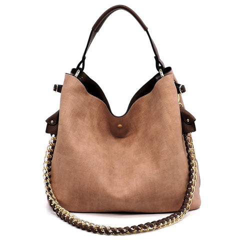 Textured Chain Strap 2-in-1 Shoulder Bag