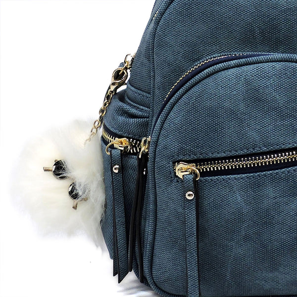 NEW Textured Vegan Leather Backpack with Pompom