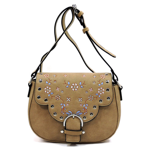 Embroidered Flower Saddle Crossbody Bag