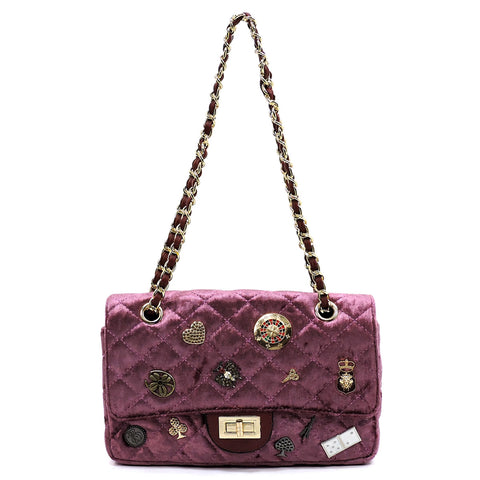 Quilted Velvet Embellished Classic Shoulder Bag