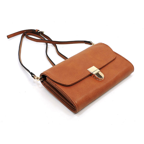 Multi Compartment Flapover Crossbody Clutch