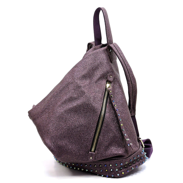Metallic Multi Rockstudded Folded Backpack