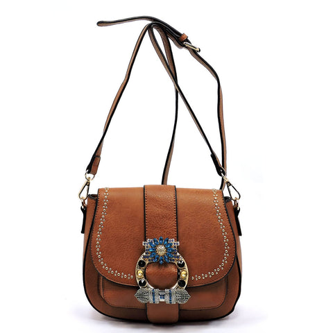 Stone Embellished Flower Saddle Crossbody Bag
