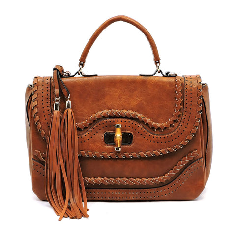 NEW Bamboo Twist Lock Satchel