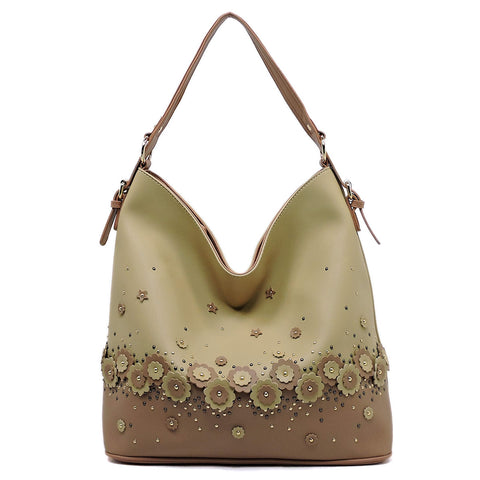 Flower Colorblock Shoulder Bag Hobo