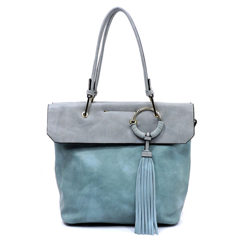 NEW Fashion Tassel Colorblock Satchel