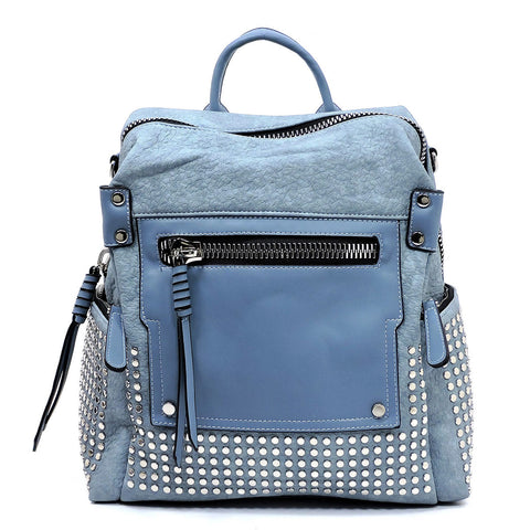 NEW Fashion Studded Convertible Backpack Blue
