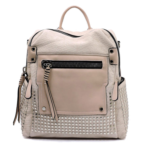 NEW Fashion Studded Convertible Backpack Pink